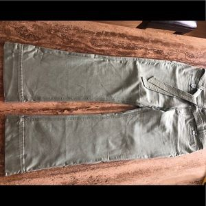 Anthropologie light green flare jeans with belt
